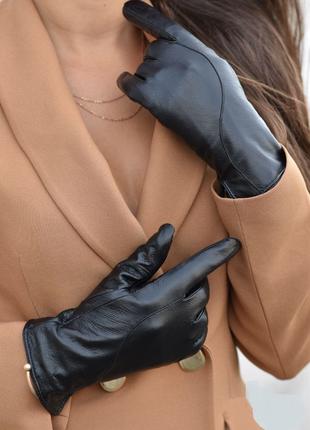 Женские черные кожаные утепленные перчатки, есть размеры