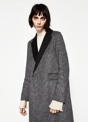 Zara пальто шерсть в клетку виши, s/m