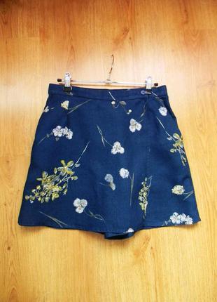 Оригинальные юбка-шорты, материал лен  10/38/s-м