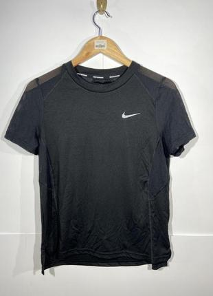 Nike running dri fit m футболка женская черная спортивная