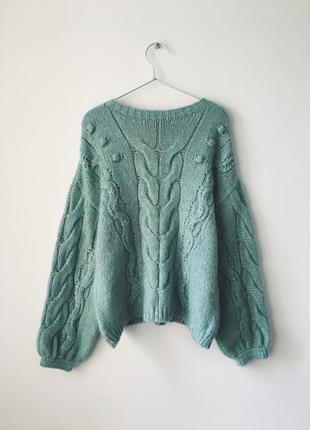 Мятный свитер с косами f&f объемный свитер мятного цвета об'ємний м'ятний светр