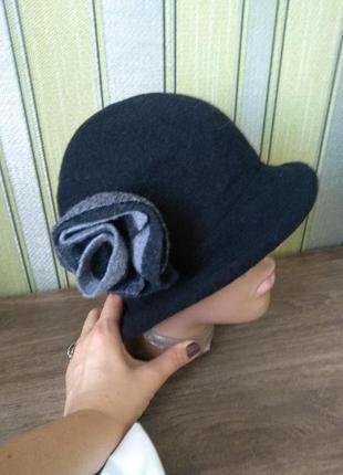 Woolmark шикарная фирменная шляпка шерсть