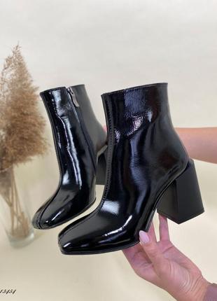 Новые женские лаковые чёрные осенние ботинки ботильоны