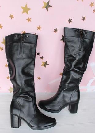 Зимние кожаные сапоги, сапожки 36 размера на удобном каблуке