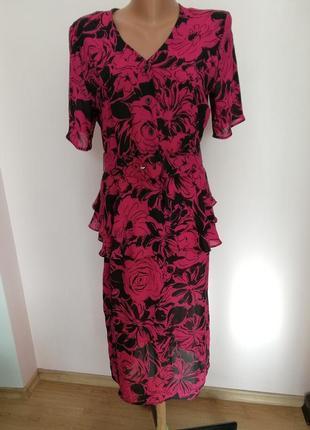 Шикарное винтажное английское платье с баской /l-xl/brend marcel fenez