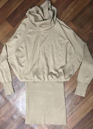 Платье платье беж вязаные тёплое юбка кофта гольф