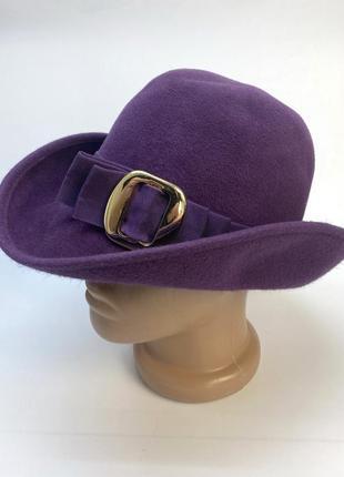 Шляпа фетровая, фиолетовая с пояском