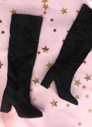 Демисезонные высокие сапоги, ботфорты 39, 40 размера на устойчивом каблуке