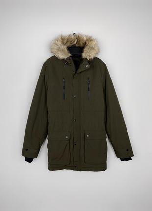 F&f чудова тепла зимова куртка парка з хутром, утеплена практична річ