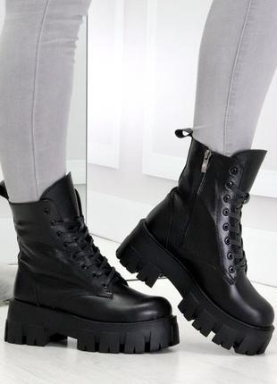 Модельные черные зимние женские ботинки гриндерсы из натуральной кожи