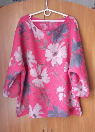 Шикарная льняная блуза с цветочным принтом