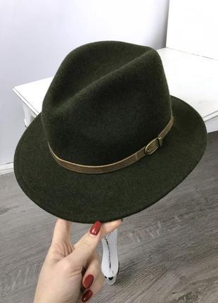 Шикарная фирменная шляпа в цвете хаки! шерсть!