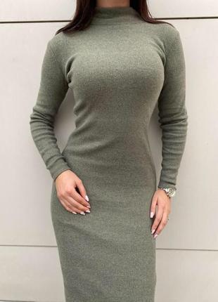 Платье в рубчик