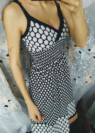 Лёгкое платье сарафан в горох черно белый невероятно красивое