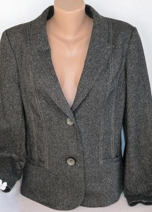 Брендовый пиджак жакет блейзер с карманами spirit casual германия шерсть этикетка
