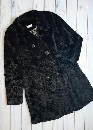 💥1+1=3 модная черная двубортная шуба тедди оверсайз, размер 46 - 48