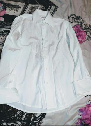 Белая рубашка на парня девушку унисекс со стоячим воротником.