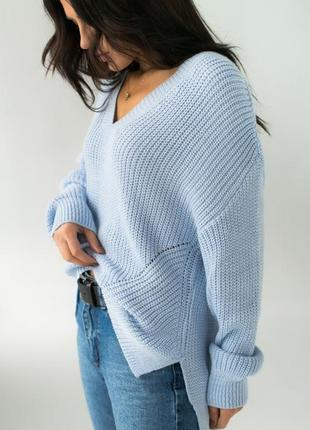 Красивий свобідний світер , пуловер оверсайз з подовженою спинкою
