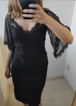 Черная кружевная блуза с майкой