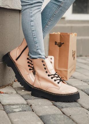 Женские ботинки dr. martens jadon patent beige💗