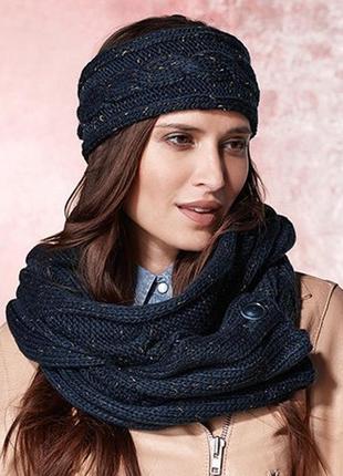 2 в 1 теплый комплект: повязка и шарф-снуд с золотистой нитью tcm tchibo