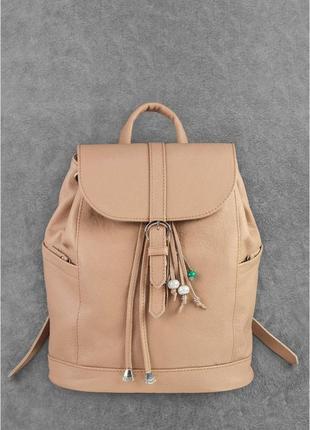 Новый женский кожаный бежевый городской рюкзак