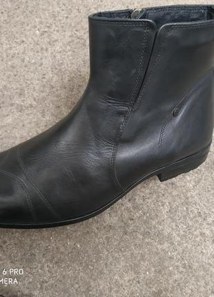 Кожаные турецкие ботинки на байке