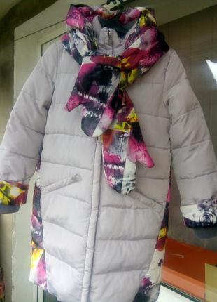 Зимнее пальто- пуховик для девочки.donilo.