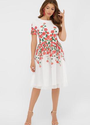Красивое белое нарядное платье до колен с принтом цветы короткий рукав