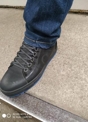 Кожаные ботинки на байкн осень