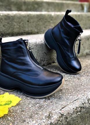 💥 крутые кожаные ботинки на танкетке теплые
