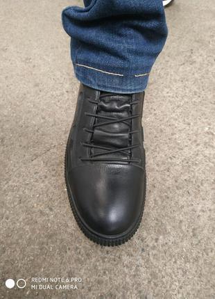 Турецкие кожаные ботинки на байке