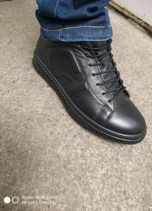 Турецкие ботинки на байке кожа осень