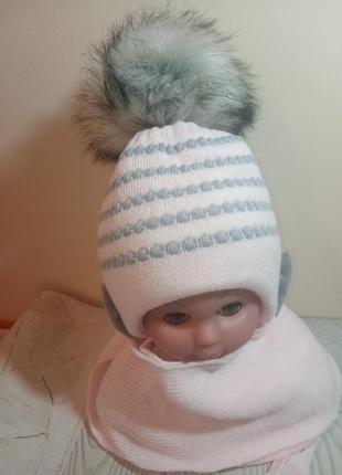 Шапка шарф зимний комплект набор для грудничков малышей agbo