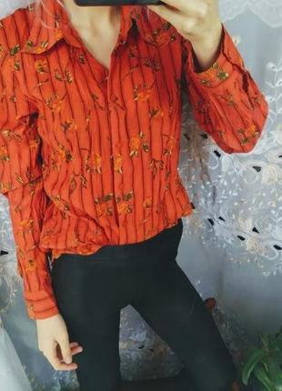 Морковная рубашка блуза  с розами в этно стиле тренд распродажа
