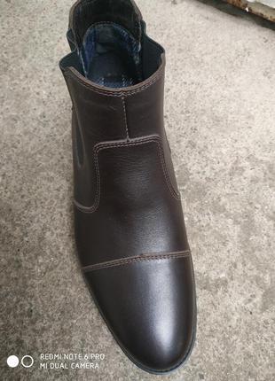 Демисезонные кожаные ботинки на байке