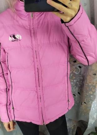 Розовая чёрная куртка двусторонняя распродажа дутая куртка пуховик