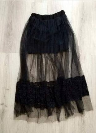 Шикарная, стильная, соблазнительная юбка миди, фатин и кружево s, xs