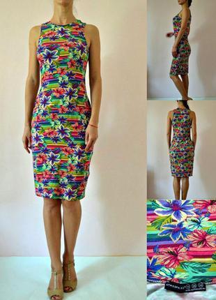 Платье миди в тропический принт  atmosphere