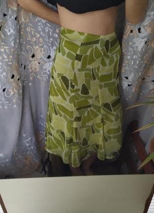 Интересная красивая юбка с подкладкой  шелковой зелёная юбка миди лёгкая