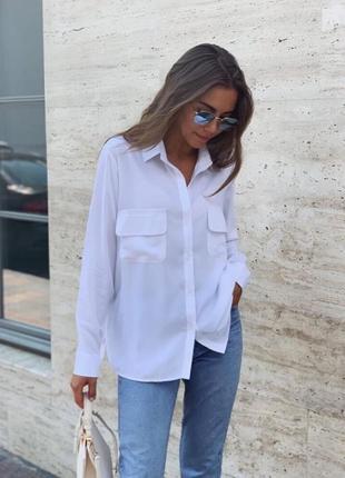 Белая рубашка оверсайз с карманами льняная біла сорочка лляна з кишенями