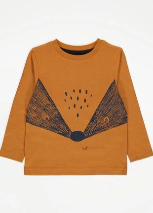 Оранжевый детский регланчик с енотом джордж для мальчика