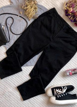 Классические зауженные брюки на осень весну из хлопка чёрного цвета