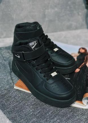 Шикарные женские кроссовки nike air force 1 high 36-44 черные