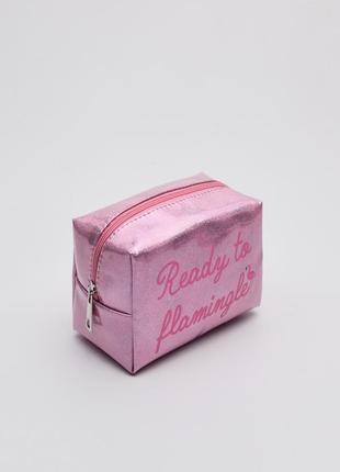 Новая блестящая розовая косметичка польша принт фламинго блестки надпись