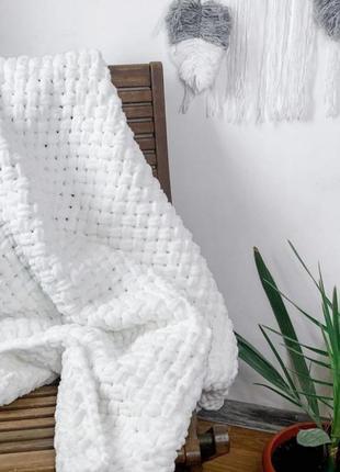 Плюшевый плед, 180 на 220, одеяло, фотозона, покрывало ручная работа