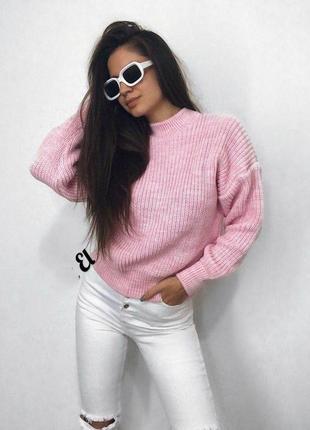 Укороченный розовый свитер