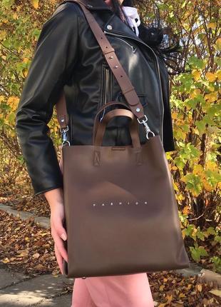 Кожаная сумка шоппер polina eiterou