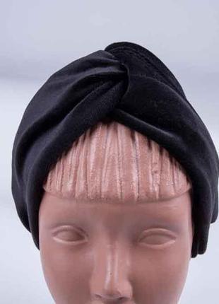 Повязка чалма на голову, широкая велюровая повязка