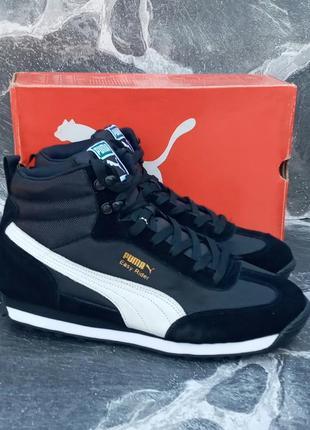 Мужские зимние ботинки puma easy rider winter черные,замшевые